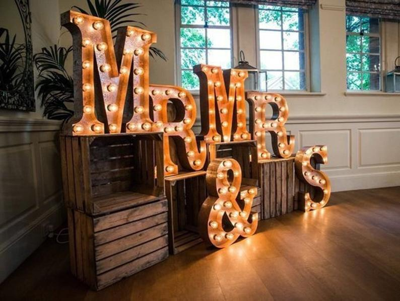 Large mr and mrs love light up letters metal marquee sign lighted letters metal retro barn wedding table letters decoration rustic wedding