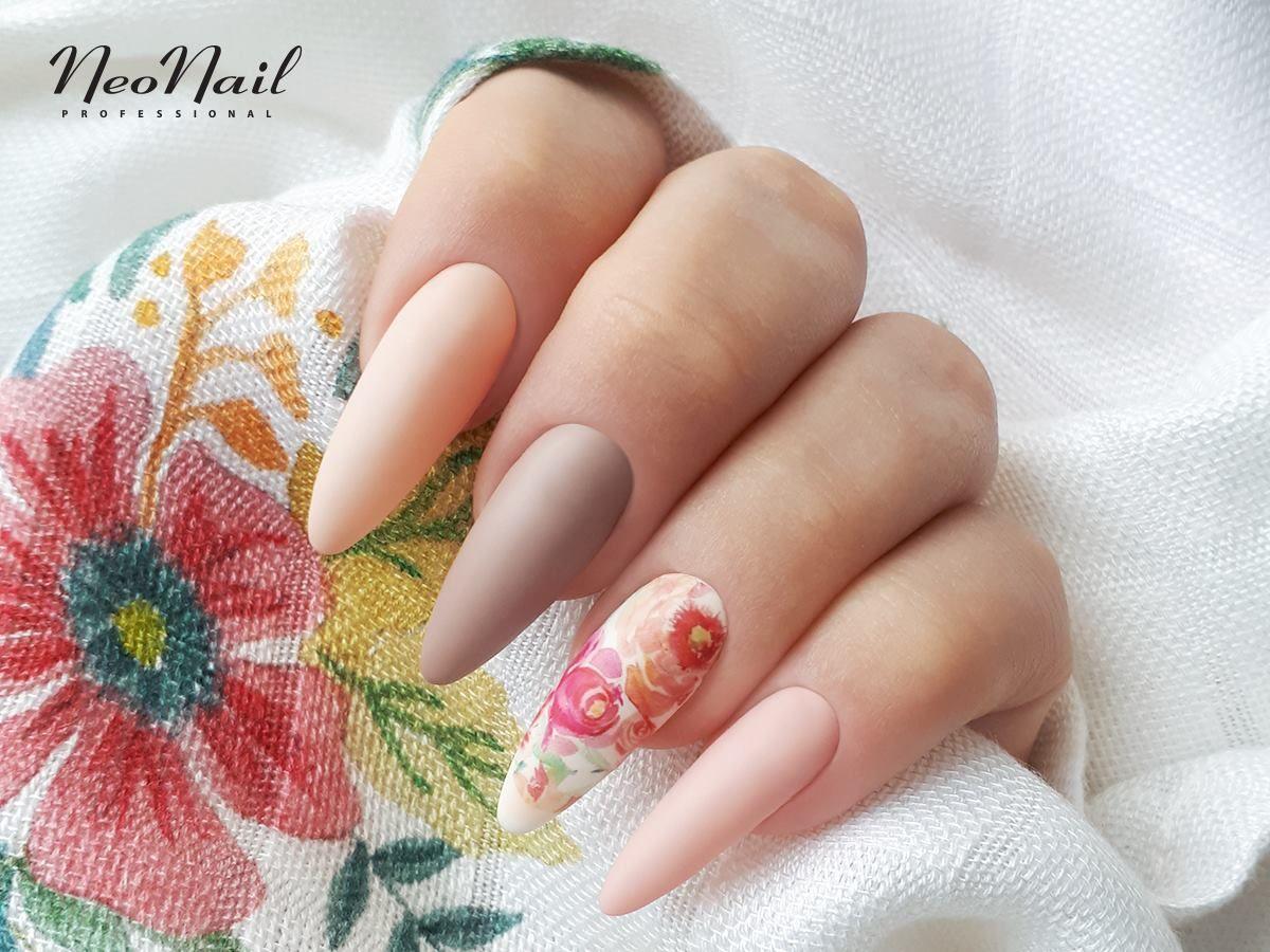 Matowe Kwiatki Na Paznokciach Hybrydowych Neonail Long Nails Pastel Nails Designs Pastel Nails