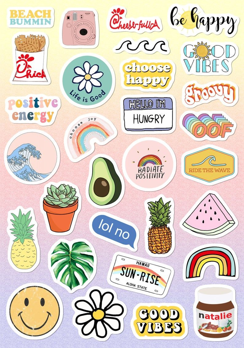 Vsco Light Pink Blue Yellow Funny Stickers For Girls For Bottle Phone Case Laptop Tumbler  30 Pcs – Titulos para cuadernos