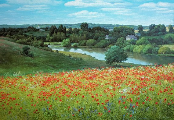 Summer Landscape Realism Oil Painting Large Canvas Art Red Etsy Summer Landscape Large Landscape Painting Landscape