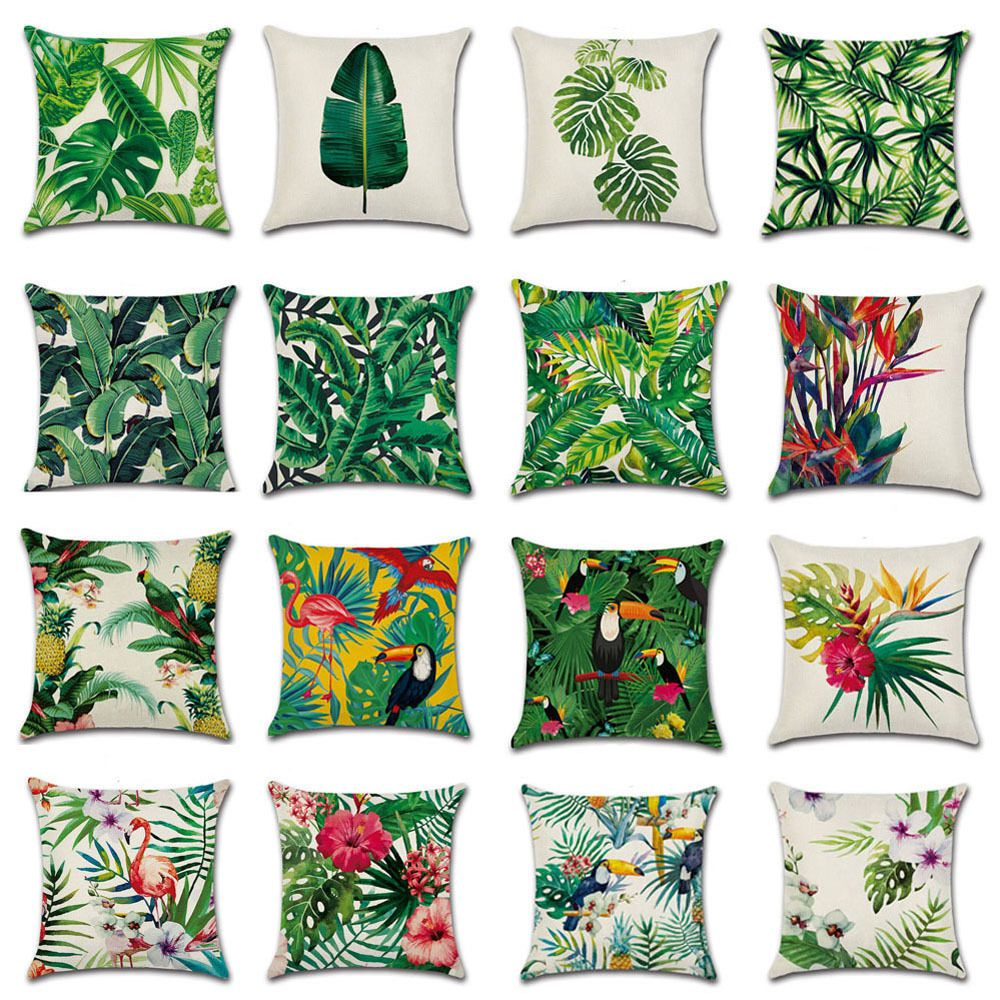 3 29aud Africa Tropical Plant Print Cushion Cover Green