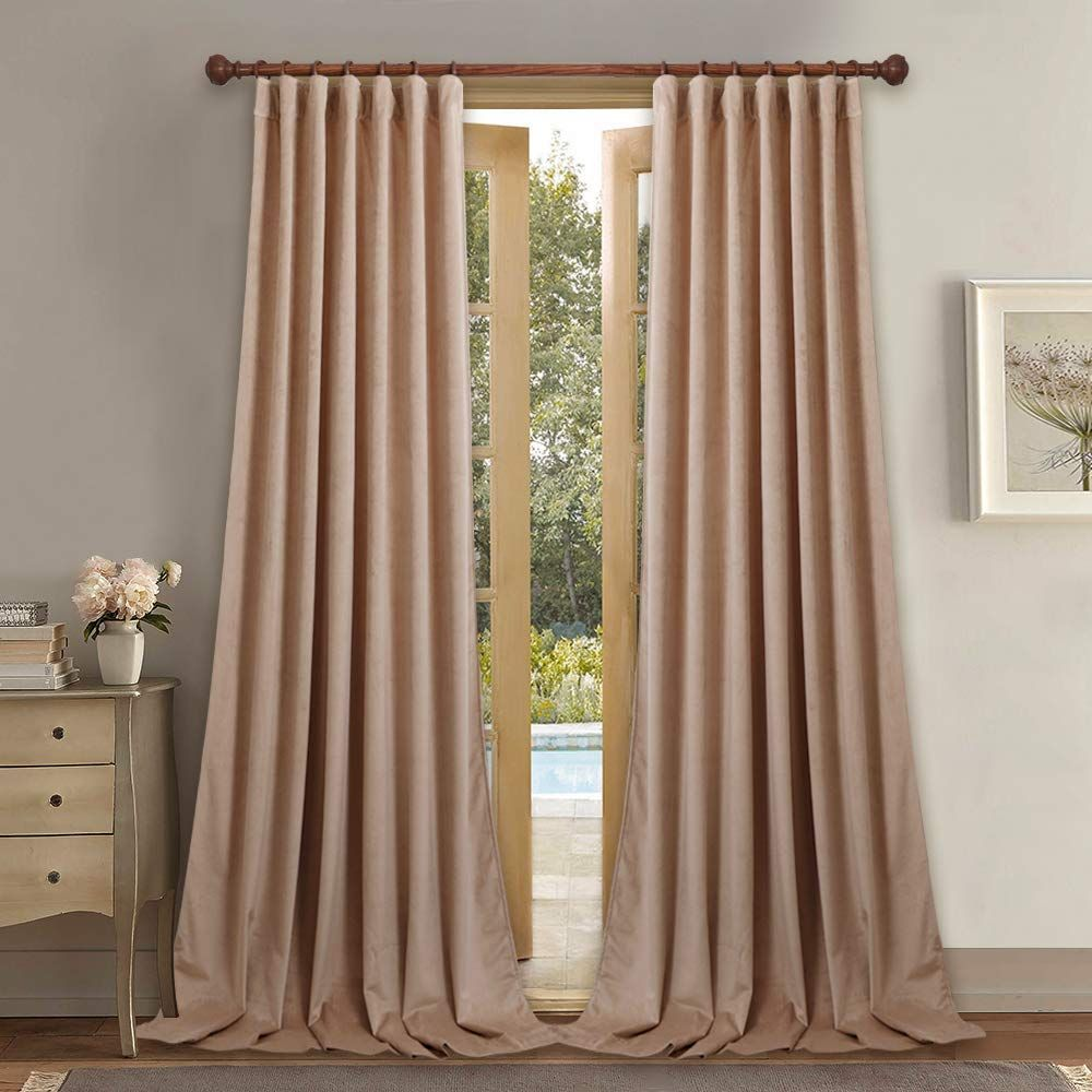 Blush Beige Extra Long Velvet Curtains Curtains Velvet Curtains
