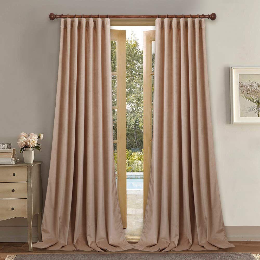 Blush Beige Extra Long Velvet Curtains Curtains Velvet Curtains