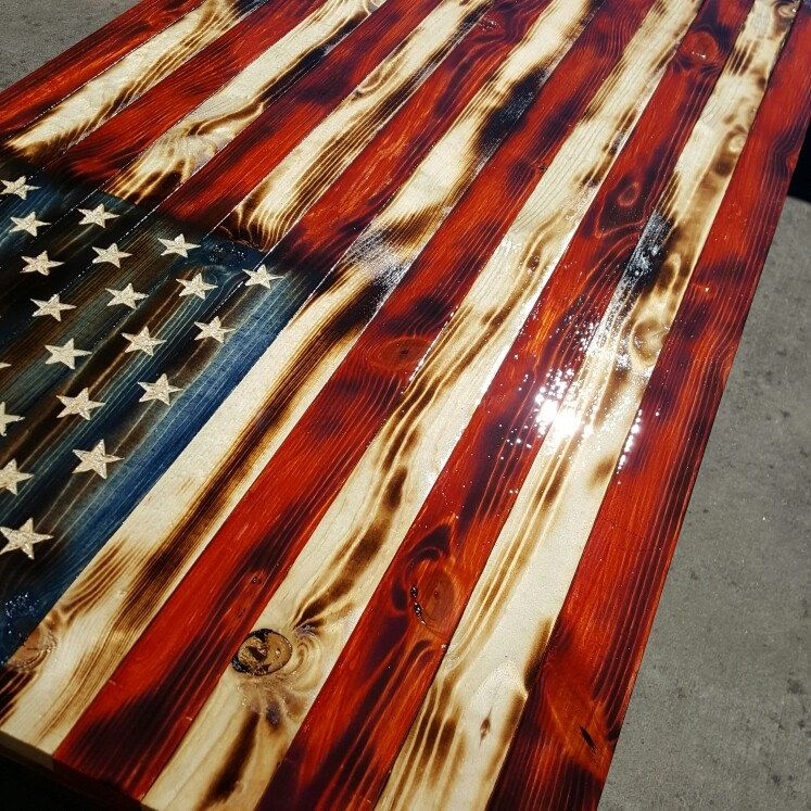 Stained In Traditional Colors And Charred To Prefection 26 X 48 Wood Flag Torch Wood American Flag Wood
