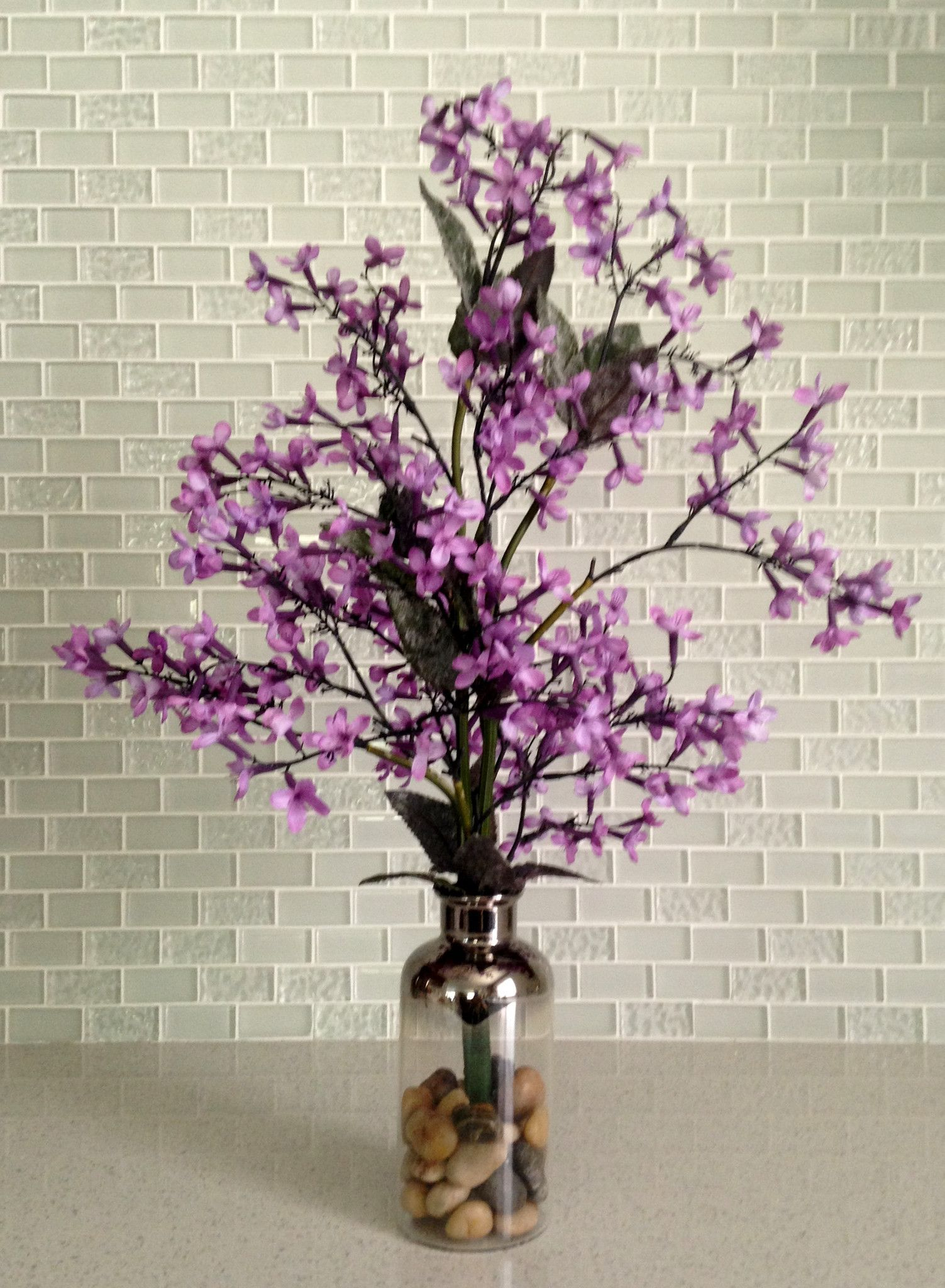 Artificial purple lilac in glass bottle vase home decor silk flower artificial purple lilac in glass bottle vase home decor silk flower centerpiece handcrafted at the floral mart mightylinksfo