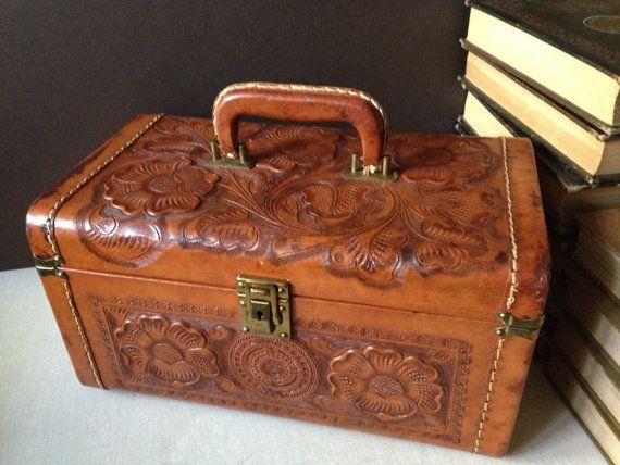 Vtg England // Cheney // Tooled Leather Train Case // Suitcase ...