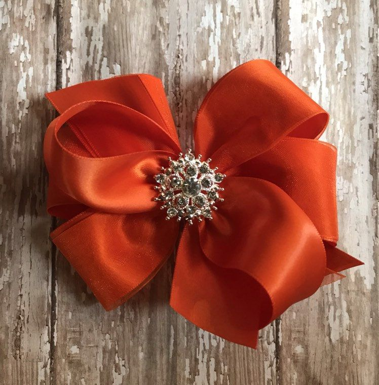 RED satin hair bow rhinestone organza  BIG 5 inch girl Christmas pageant Cici/'s