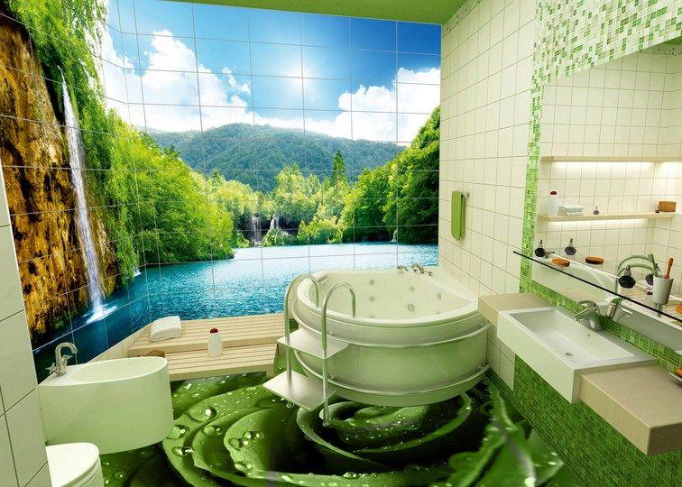 D banyo duvar kağıdı modelleri ideeën voor in huis