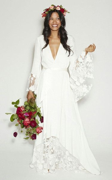 d619d8bf1d7b Fashion BOHO Bohemian Beach Hippie Style Wedding Dresses with Long Sleeves  Lace Flower Custom Plus Size