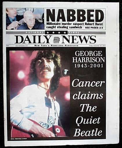 Pin By Raabe Tobias On George Harrison Newspaper Headlines Historical Newspaper George Harrison