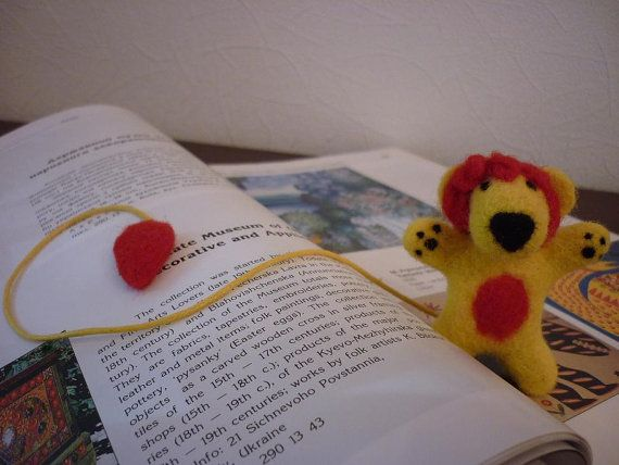 Bookmark Needle Felted Book Accessories by OlessiaWoolPets