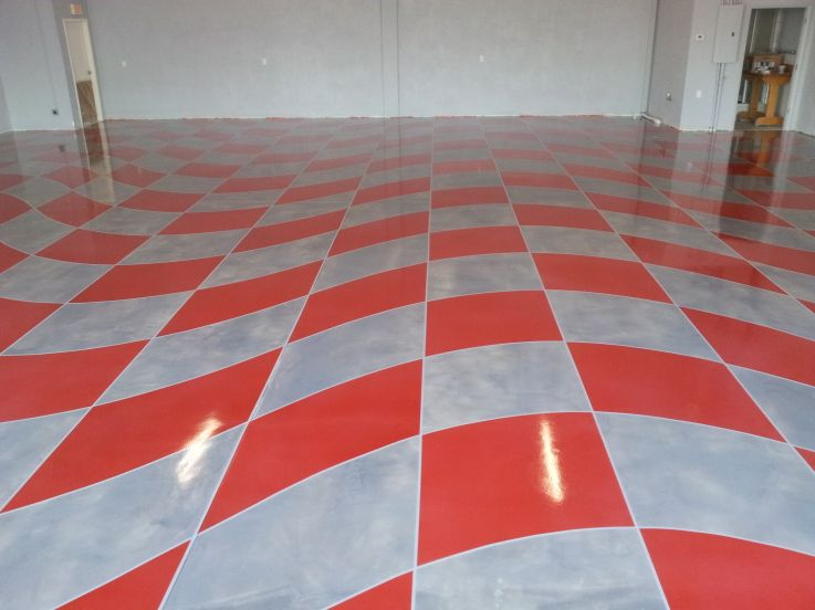 Wave Checker Flag Epoxy Floor Red And Gray Completed