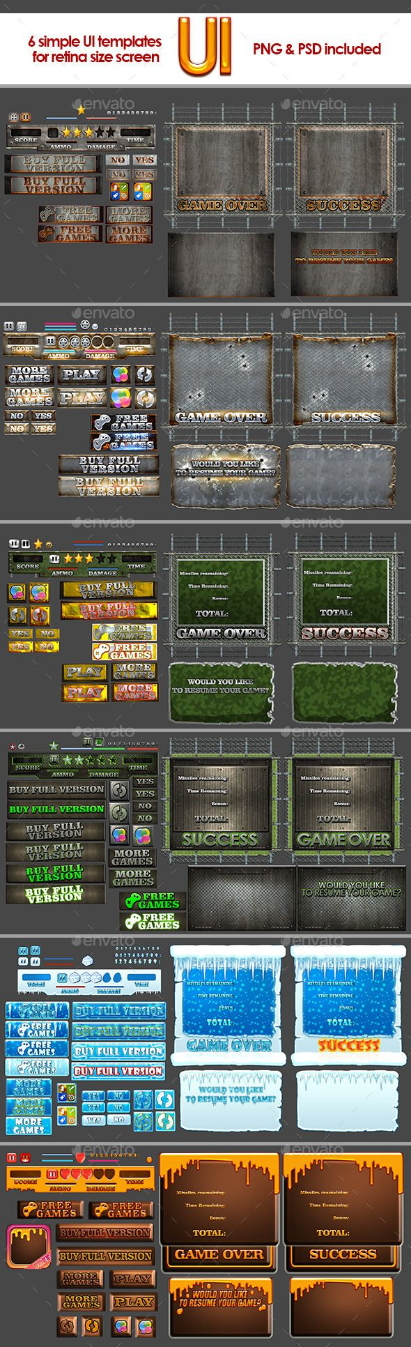 6 simple gui templates game assets font logo and user interface