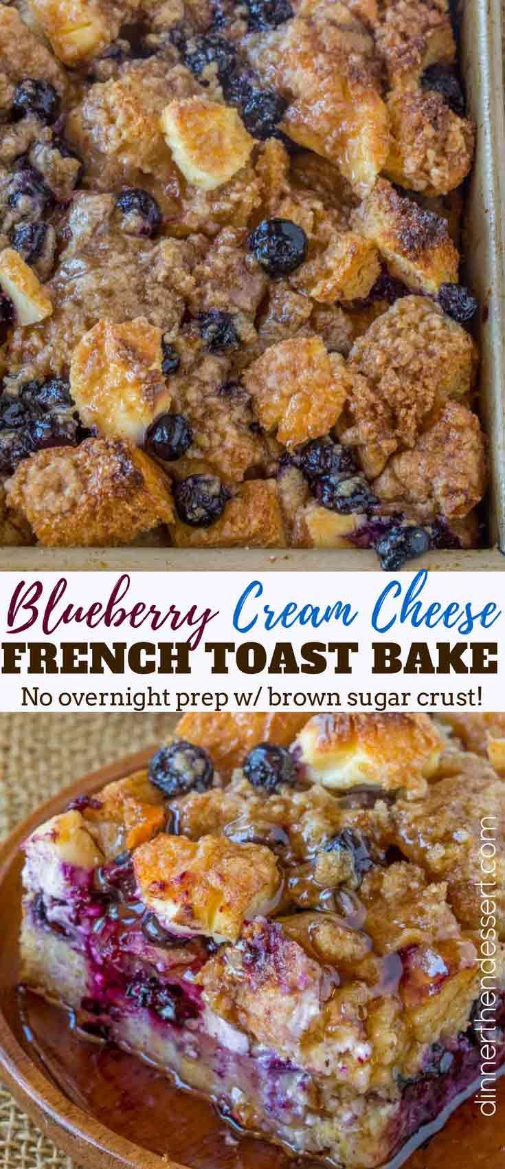 Blueberry Cream Cheese French Toast Bake - Dinner, then Dessert