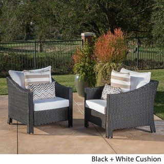 Antibes Outdoor Wicker Club Chair With Cushions Set Of 2 By