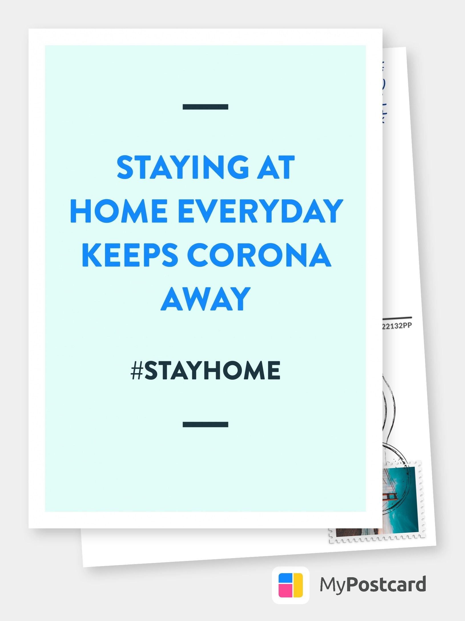 Staying At Home Everyday Keeps Corona Away Encouragement Cards