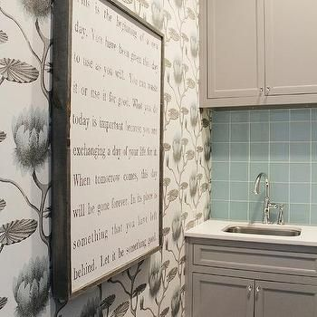 Blue and GRay Laundry Room with Cole and Son Lily Wallpaper #graylaundryrooms Blue and GRay Laundry Room with Cole and Son Lily Wallpaper #graylaundryrooms
