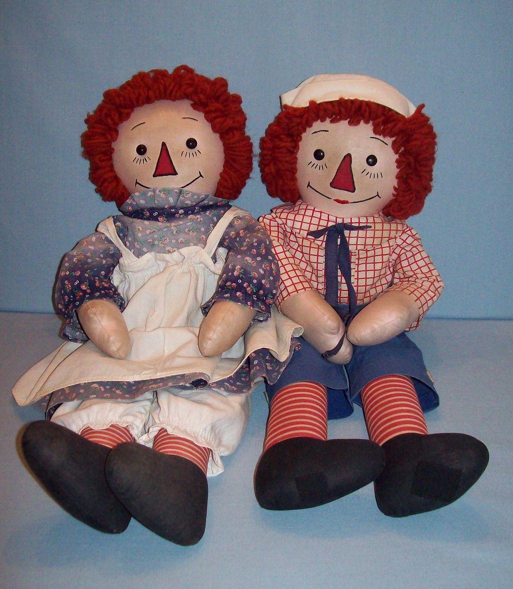wonderful pair of homemade raggedy ann u0026 andy dolls raggedy ann