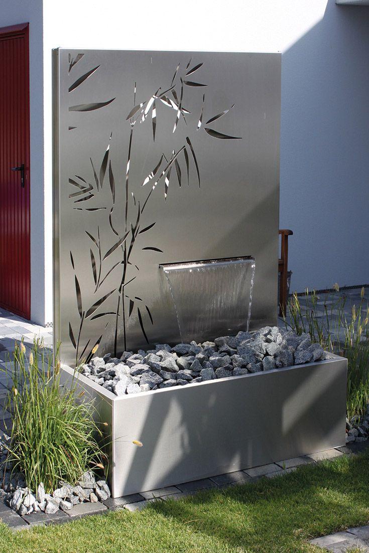 Wasser Im Garten Edelstahl Motiv Schilf Wasserfall Garten