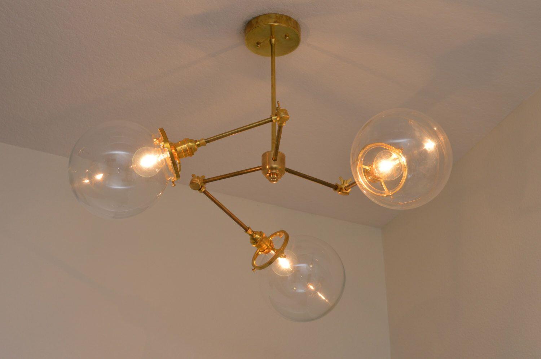 Modern brass chandelier modern lighting brass fixture three bulb light bulb arubaitofo Images
