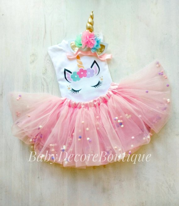 af37acb925209 Unicorn Birthday Tutu Outfit, Pink gold Unicorn Birthday Outfit, 1st 2nd  Cake Smash, Unicorn Birthda