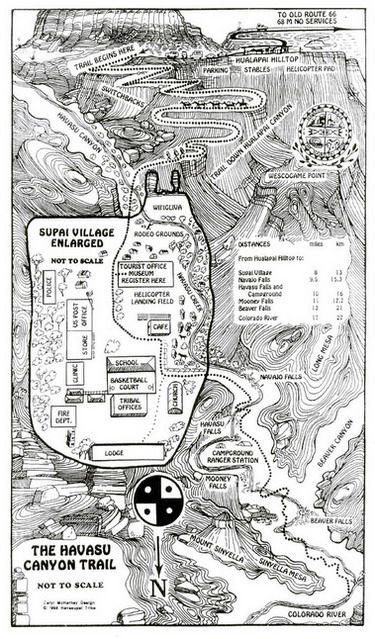 Havasupai Falls Map map of havasu falls grand canyon   Travel Havasupai   Havasupai  Havasupai Falls Map