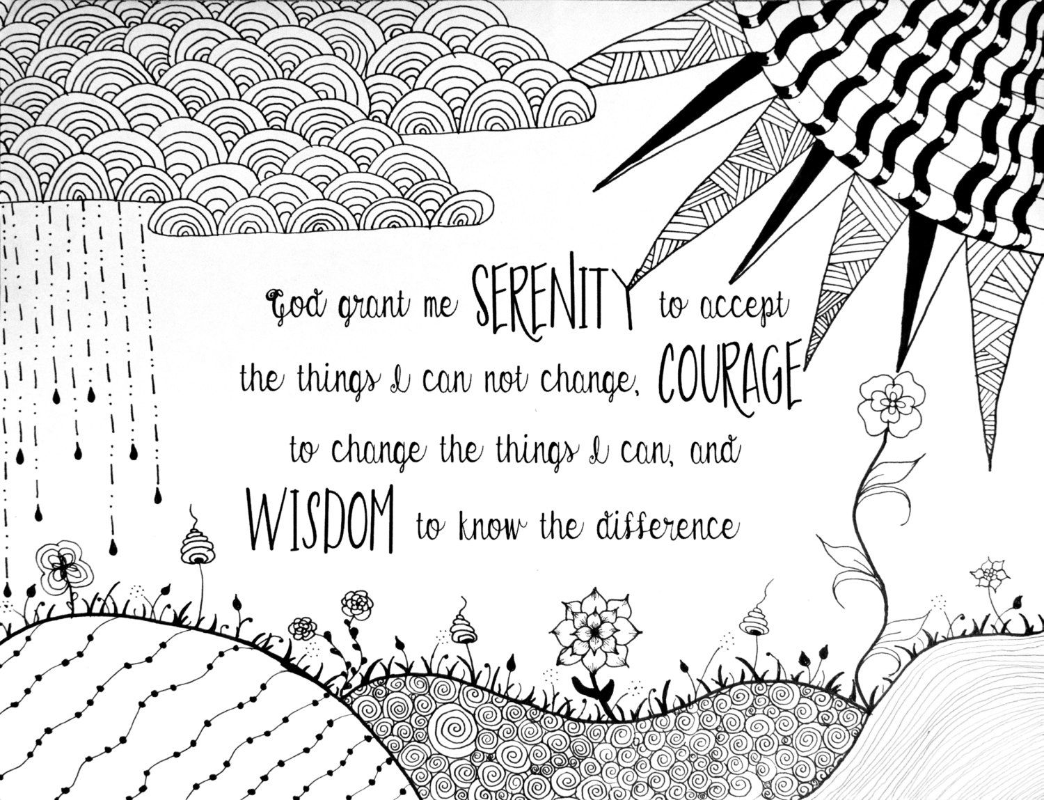 Serenity Prayer Coloring Page Serenity Prayer Coloring Pages