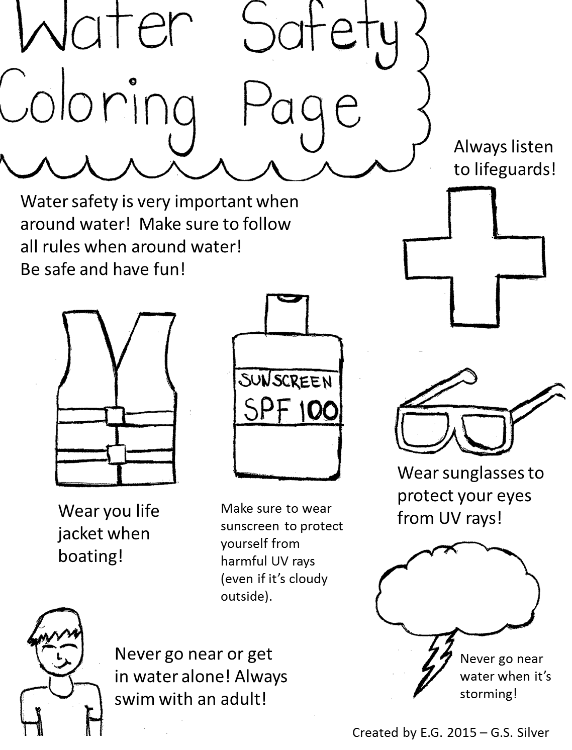Pin On Water Safety Coloring Page