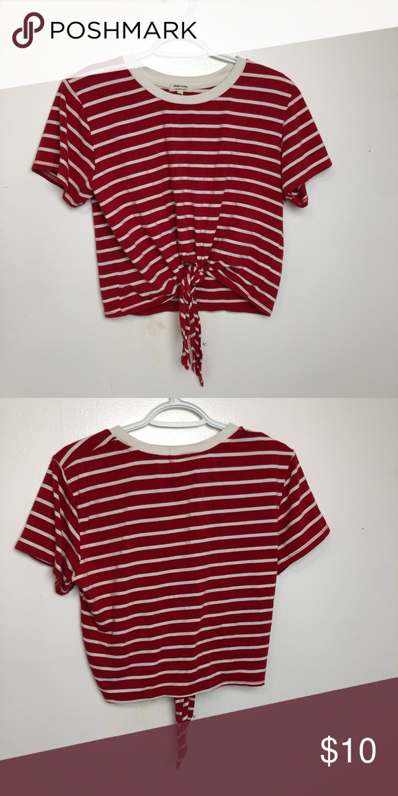 Heart & Hips Striped Cropped Tie Top Preowned, but in good
