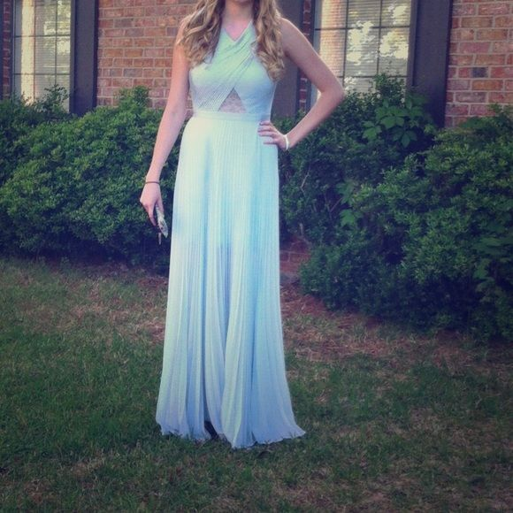 Long Light Blue Bcbg Dress With Lace Detail Only Worn Once Bcbgmaxazria Dresses