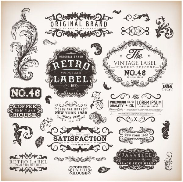 Vintage labels and Borders vector 02 - Vector Frames & Borders ...