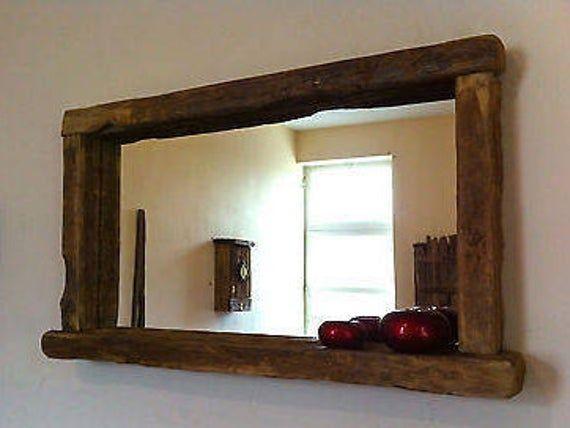Rustic Farmhouse Mirror With Shelf, Wood Rustic Mirror