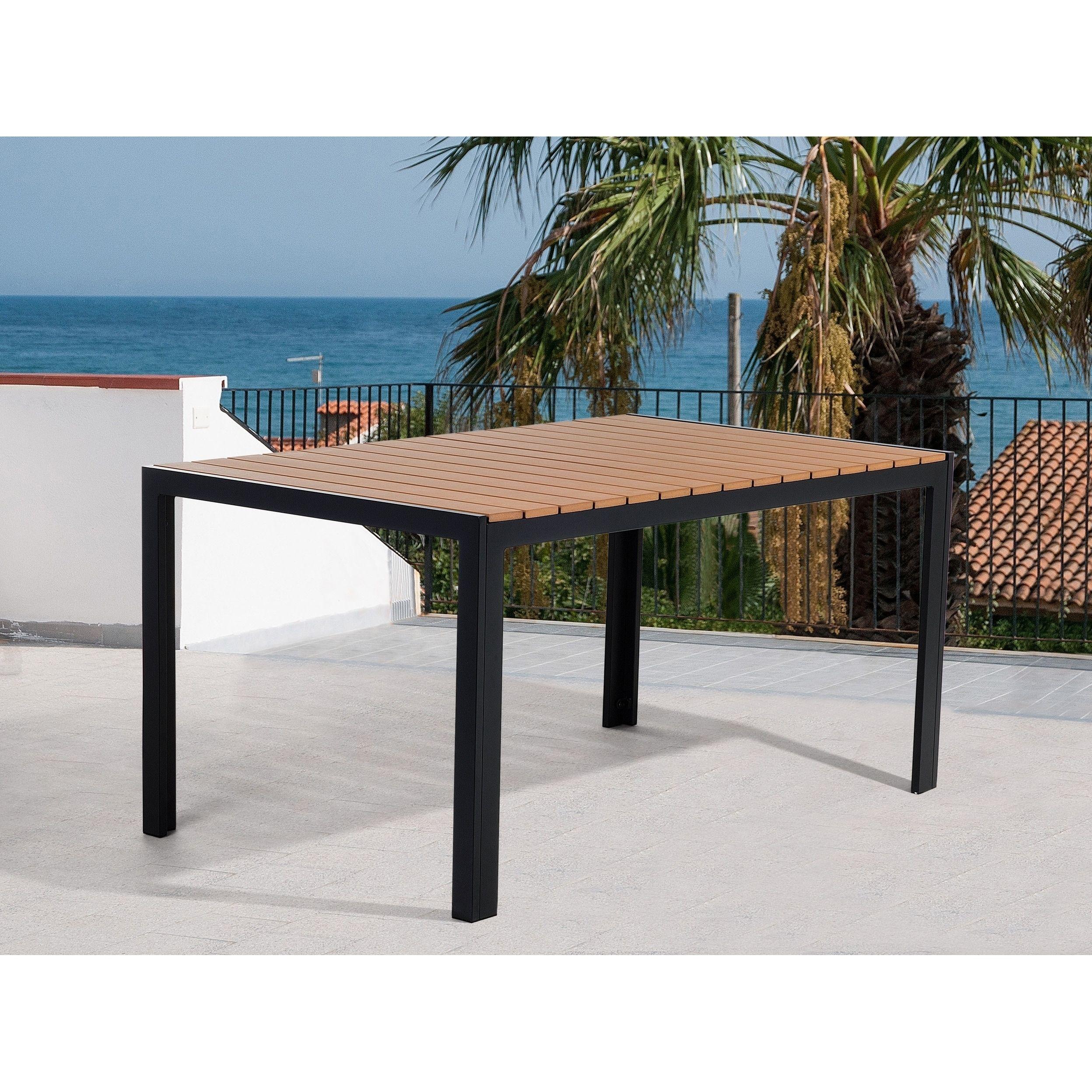 Beliani poly resin patio dining table como brown patio furniture