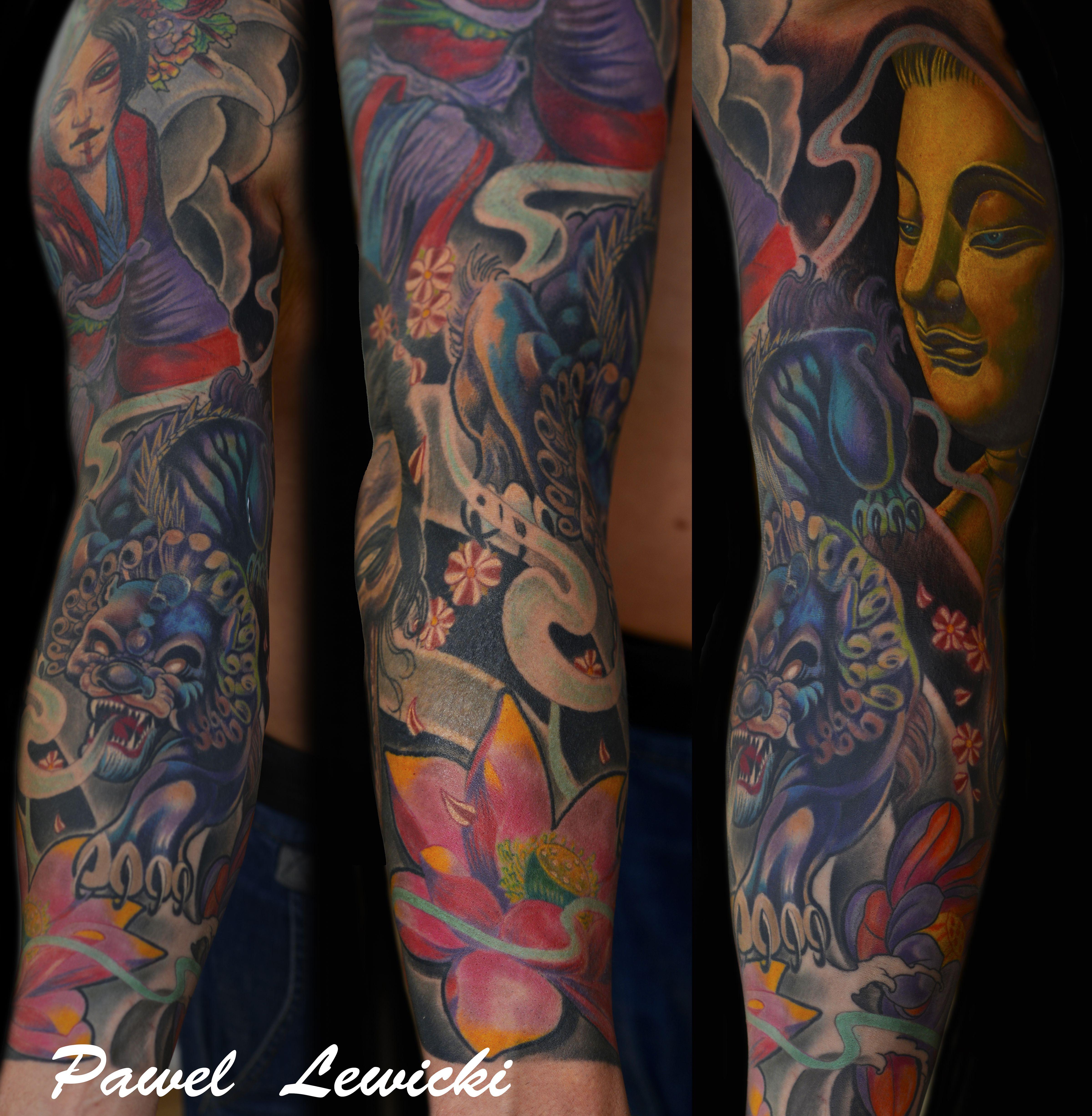 custom tattoo ink color sleeve japanese lotus budha dublin