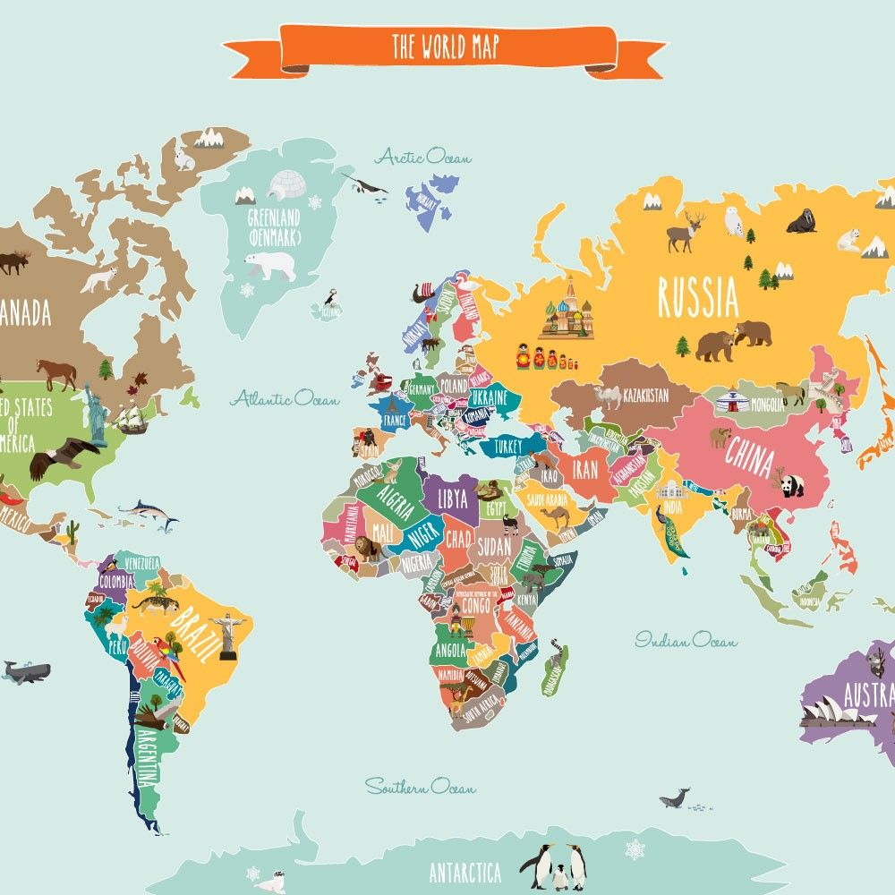 Discover notable landmarks and animals on each continent in our discover notable landmarks and animals on each continent in our countries of the world map poster gumiabroncs Gallery
