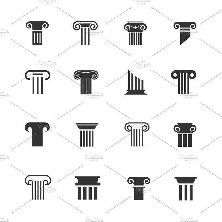Ancient Column Icons Ancient Logo Law Icon Branding Design Logo