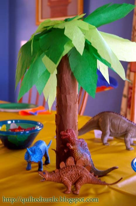 paper towel roll trees for dinosaur party kids birthday