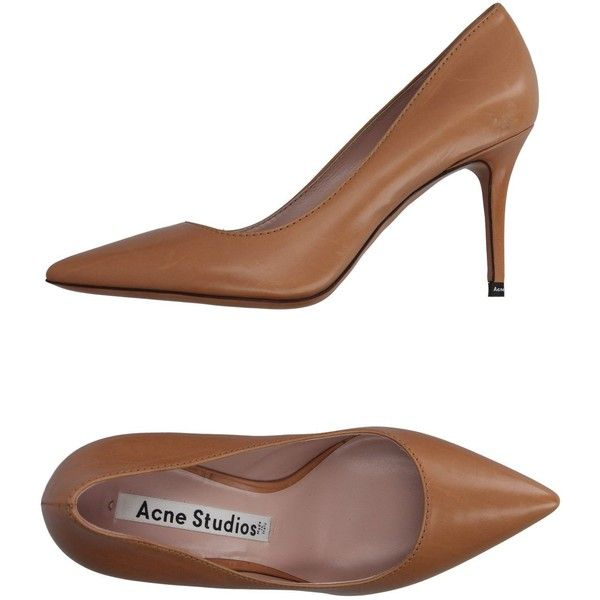 Acne Studios Court (410 AUD) ❤ liked on Polyvore featuring shoes, pumps, camel, animal shoes, animal pump, stiletto heel shoes, stiletto pumps and camel pumps