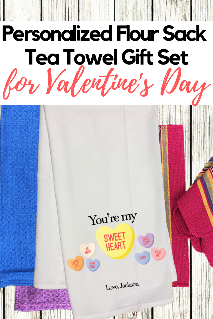 My Sweetheart Conversation Hearts Personalized Valentine S Day Flour Sack Tea Towel Diy Gift Set Diy Gift Set Tea Towels Diy Flour Sack Tea Towels