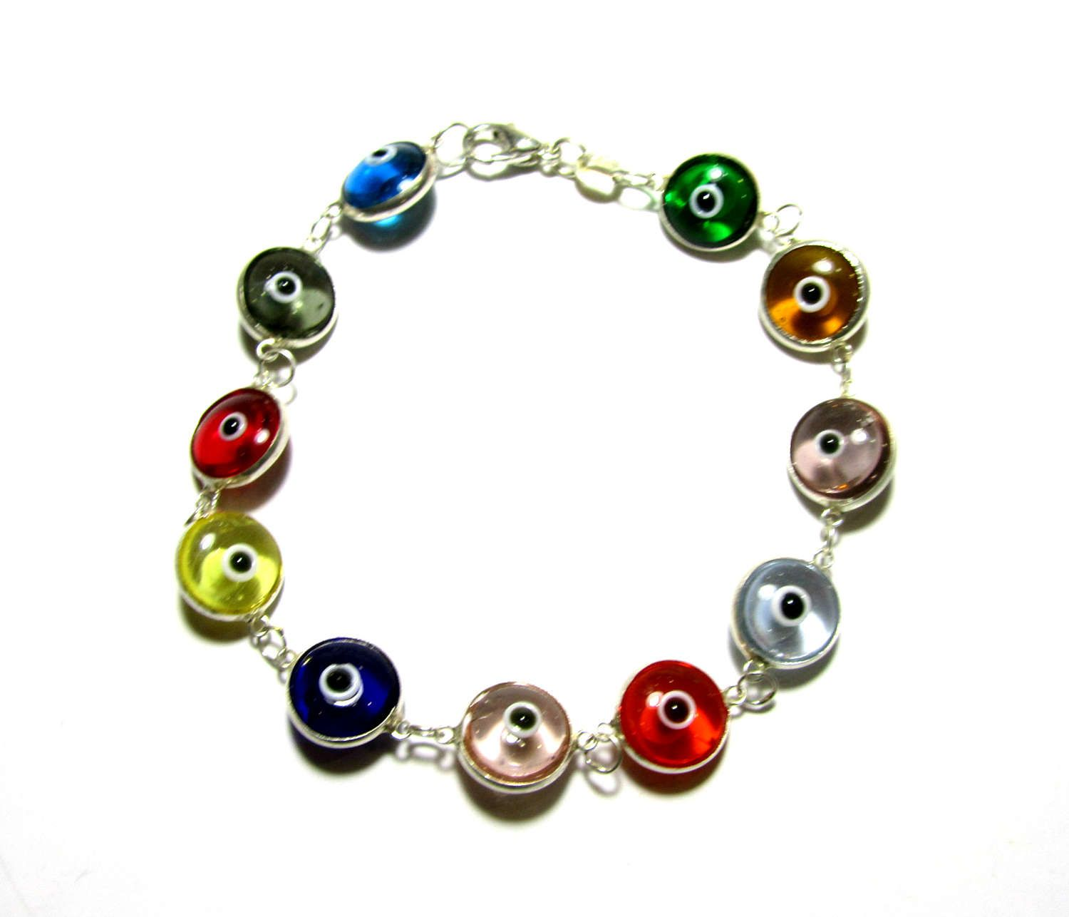 silver bracelet eye turkey in made mati evil pin color multi sterling