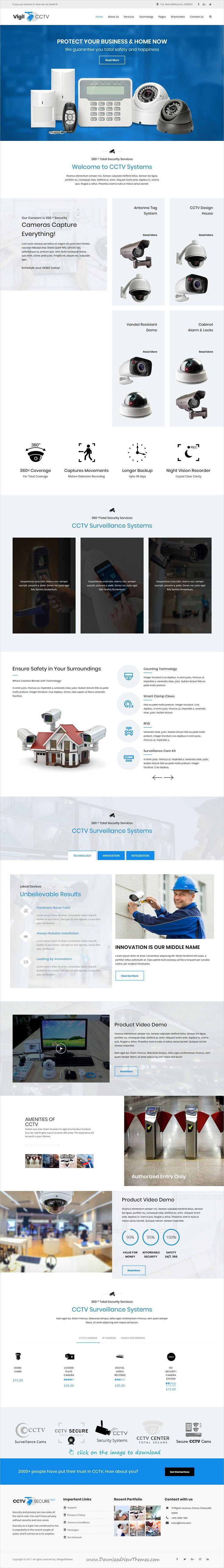 Vigil - CCTV, Security WordPress Theme | Wordpress, Web design ...