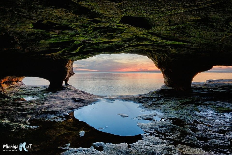 Photograph Sea Cave Sunset Lake Superior by John McCormick on 500px