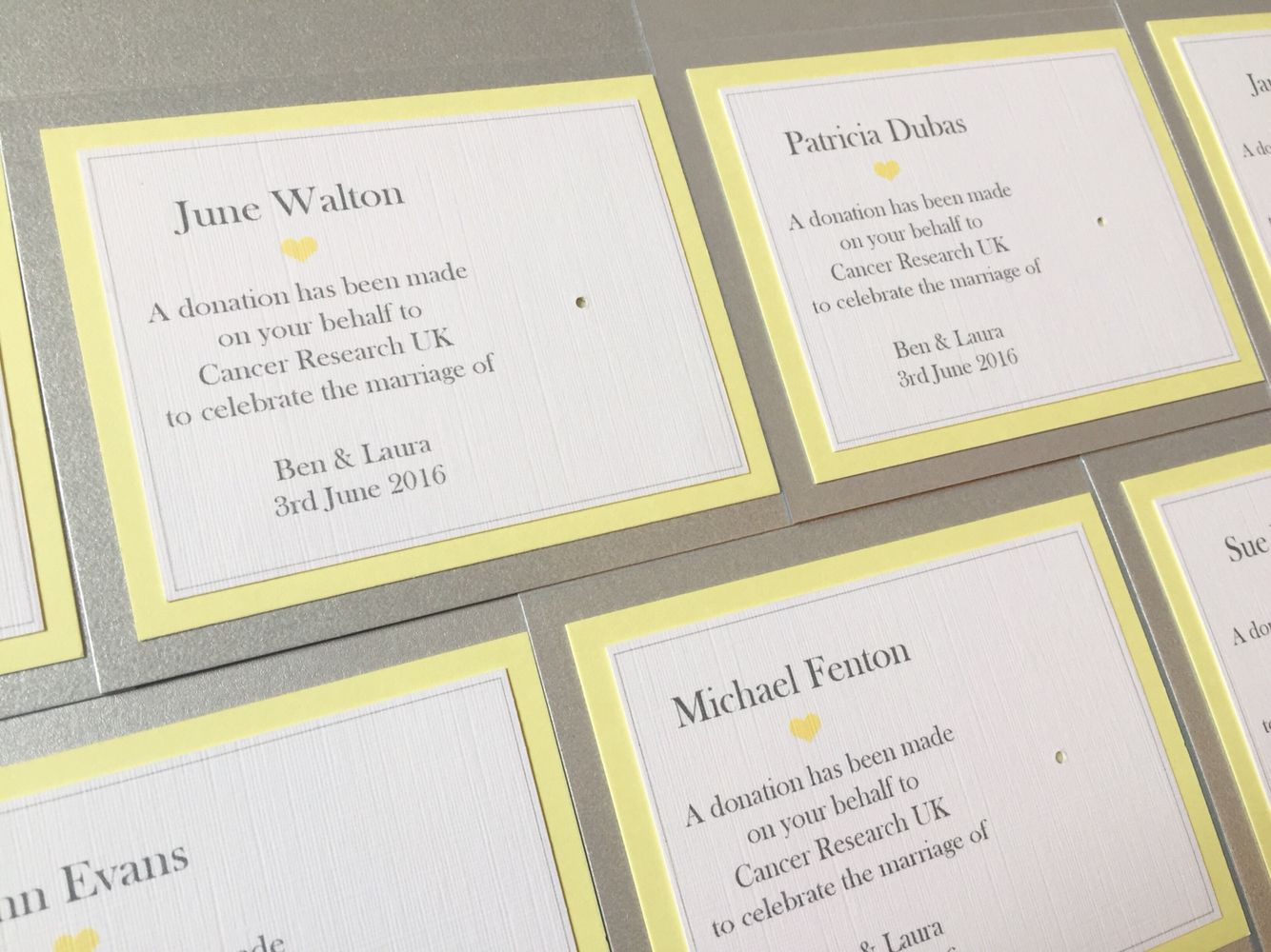 Charity Badge Wedding Favours Guest Name Place Settings in Lemon ...