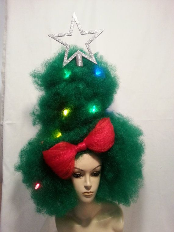 extra large green afro wig styled