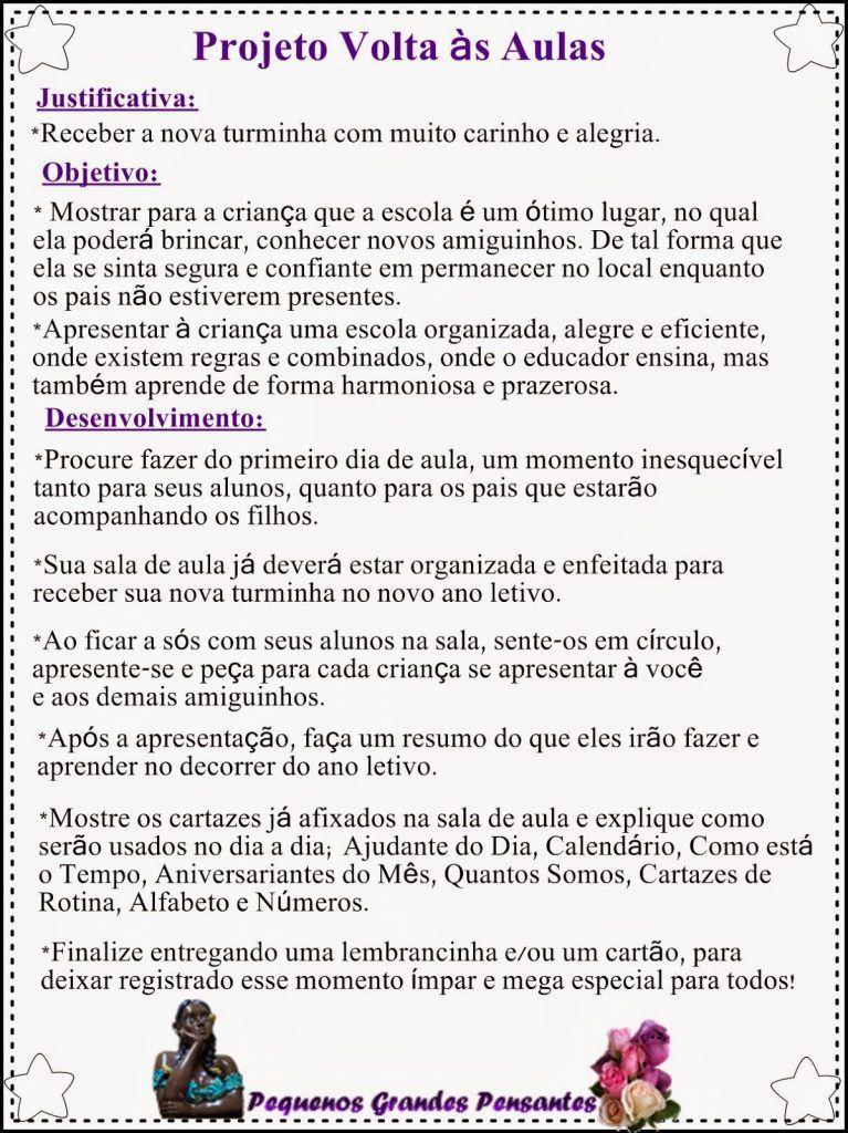 Projeto Volta As Aulas Para Educacao Infantil Adaptacao E