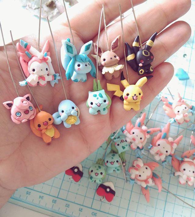 Polymer clay pokemon kawaii chubby chubbymon Pikachu Eevee Charmander Umbreon Squirtle Bulbasaur Jig... #kreativehandwerke