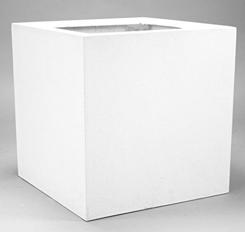 Pflanzkübel, Blumenkübel Fiberglas quadratisch 70x70x70cm perlmutt ...