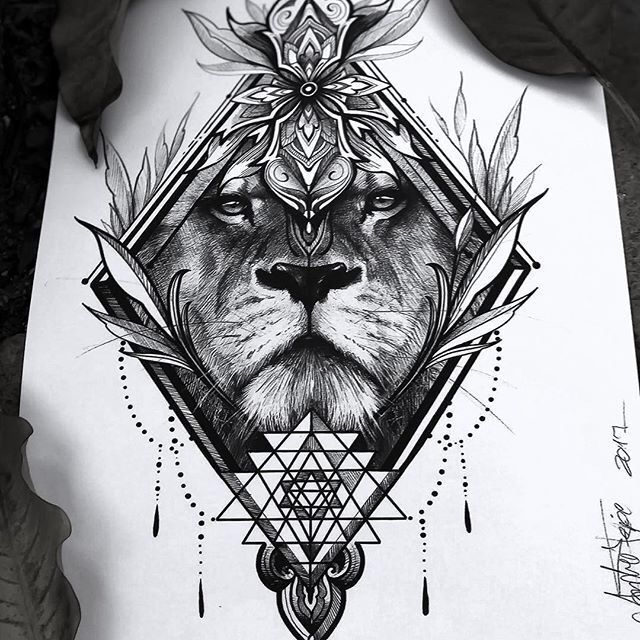 löwemandala  mandala tätowierung könig tattoos