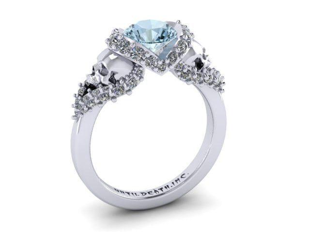 Secret Skull Engagement Ring 14K White Gold with Sky Blue Topaz Stone and White Diamonds- UDINC0326