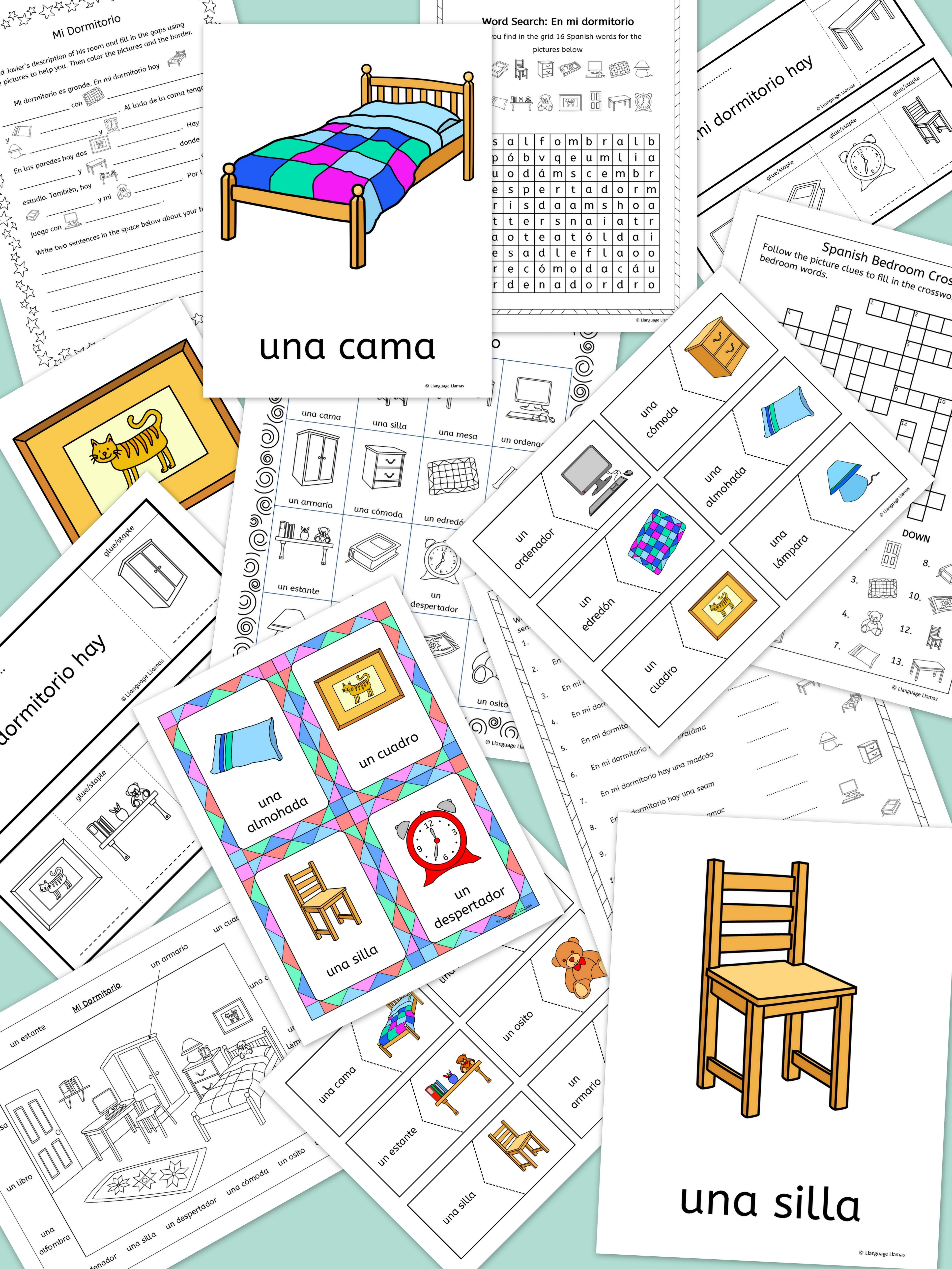 Llanguage Llamas Spanish Bedroom Vocabulary Mi